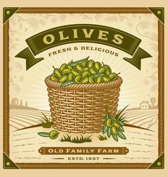 retro olive harvest label with landscape vector image