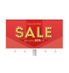 sale and discount billboard with ads get extra vector image