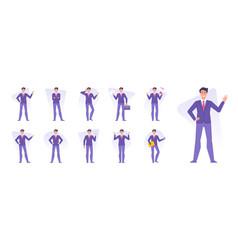 set businessmen doing various business vector image