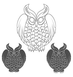 set of black and white owl images vector image