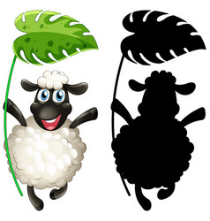 sheep holding leaf with its silhouette vector image