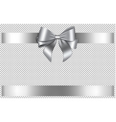 silver bow and ribbon for christmas and birthday vector image