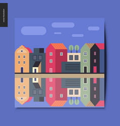 simple things - houses on the river vector image