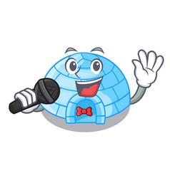 Singing igloo ice house isolated on mascot vector
