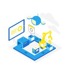 Software development technological conveyor icon vector