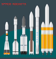 space rockets set comparative size cargo and vector image