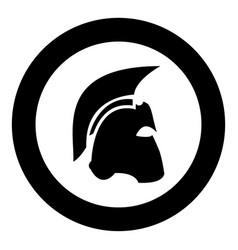 Spartan helmet icon black color in circle vector
