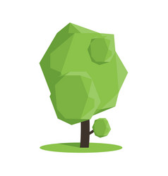 Stylized low poly polygon green tree vector