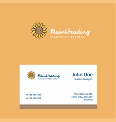 sunflower logo design with business card template vector image
