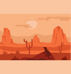 sunrise in desert cacti and lizard silhouette vector image