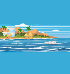 tropical island hotels bungalows vacation vector image