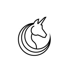 unicorn line logo design vector image