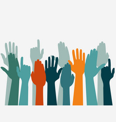 Voting hand raised up election concept arms vector