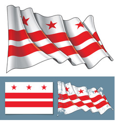 Waving flag of washington dc vector
