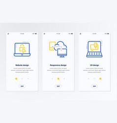 Website responsive ux design vertical cards with vector