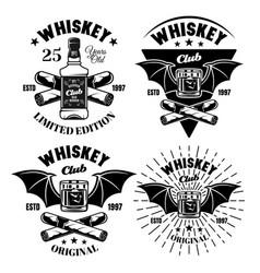 Whiskey set four emblems badges labels vector