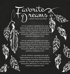 White hand drawn feathers chalkboard vector