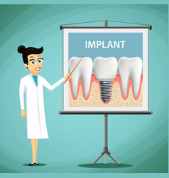 Woman dentist showing a poster with tooth implant vector