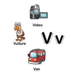alphabet letter v-video vulture van vector image