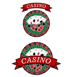 Casino roulette with gambling elements vector image