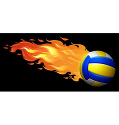 Flaming volleyball on black vector image