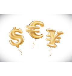 gold dollar euro yen symbol alphabet balloons vector image