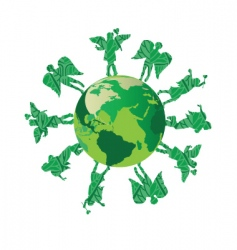 green kids on green earth vector image vector image