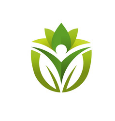 green lotus yoga wellness vector image