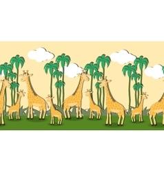 Seamless pattern with cartoon giraffes vector image