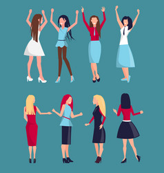 set of different women icons vector image