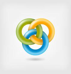three jelly interlocking rings vector image vector image