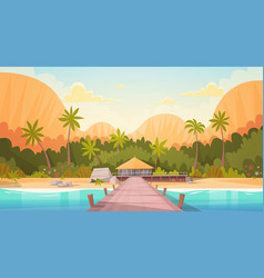 tropical beach with water bungalow house landscape vector image vector image