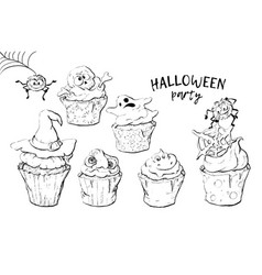 variety of halloween cupcakes isolated vector image vector image
