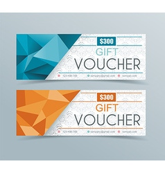 Voucher template with geometric background vector image