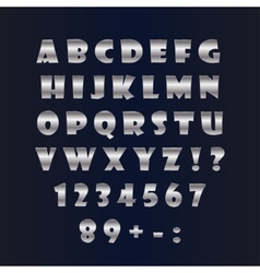 English silver alphabet on a black background vector image vector image