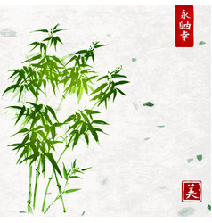 green bamboo on handmade rice paper background vector image vector image