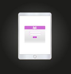 Log in form on tablet screen vector
