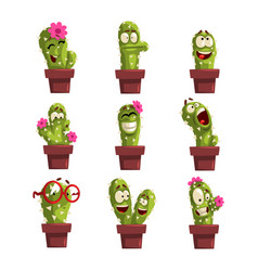 potted cactus characters sett funny cacti in vector image vector image