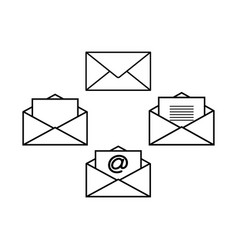 set of envelopes icons vector image vector image