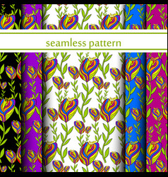 set of seamless pattern with flowers vector image vector image