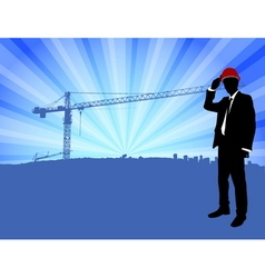 supervisor standing in front of construction site vector image vector image