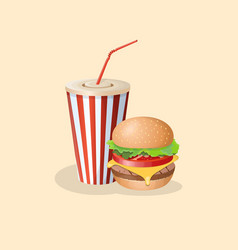 burger and soda in a paper cup vector image