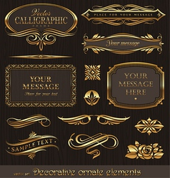 golden decorative design elements vector image vector image