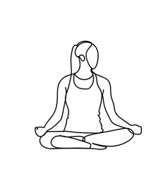 Joga pose silhouette sketch woman on white vector