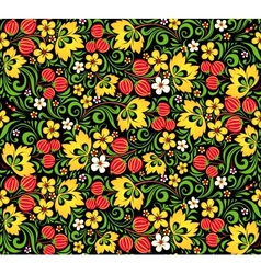 Pattern traditional russian style hohloma vector