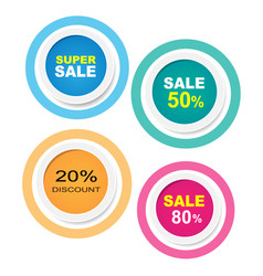 sale labels circle collection sticker with shadow vector image