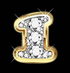 1 number gold and diamond vector image