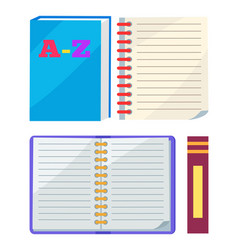 abc book or copybook and spiral notebook vector image vector image