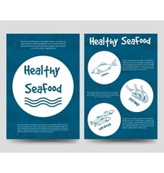 Brochure flyers template with healthy seafood vector image