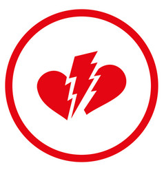 broken heart rounded icon vector image